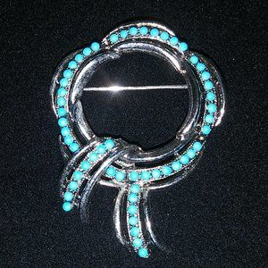 Pretty Silver and Turquoise Brooch/Pin